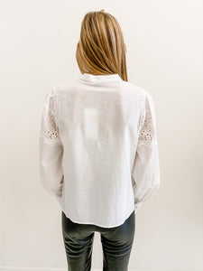Eyelet Button Up Blouse