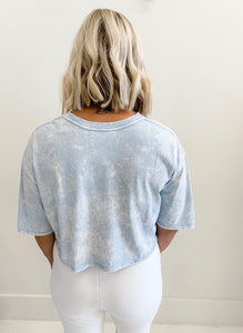 Blue Acid Wash Crop Tee