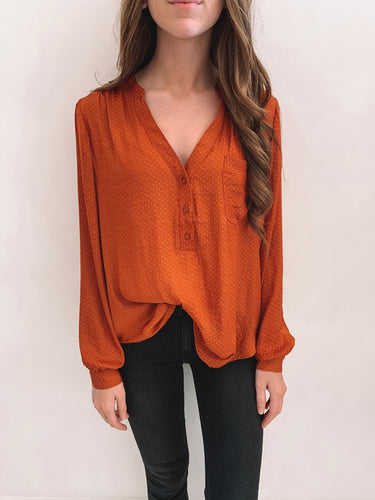 Rust Patterned Satin Blouse