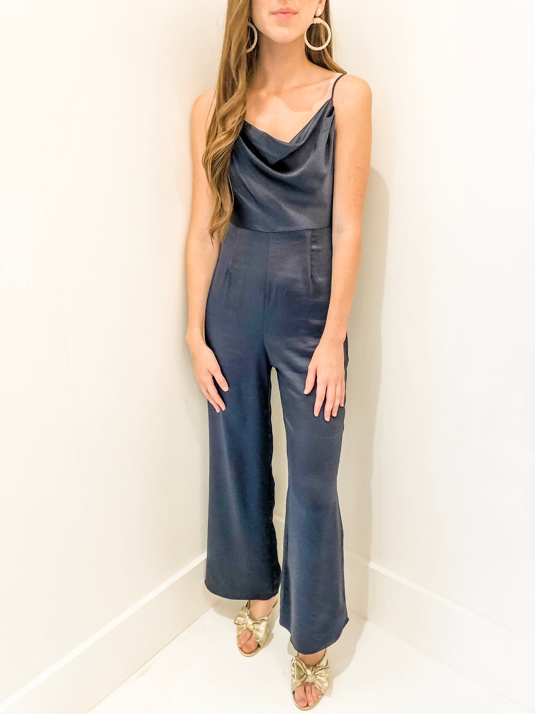 Navy Satin Jumpsuit