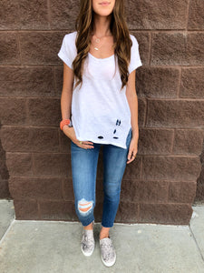 White Distressed Tee