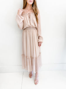 Nude Off the Shoulder Maxi