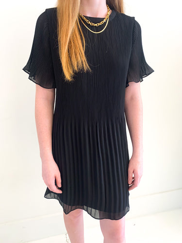 The Ella Pleat Dress Black