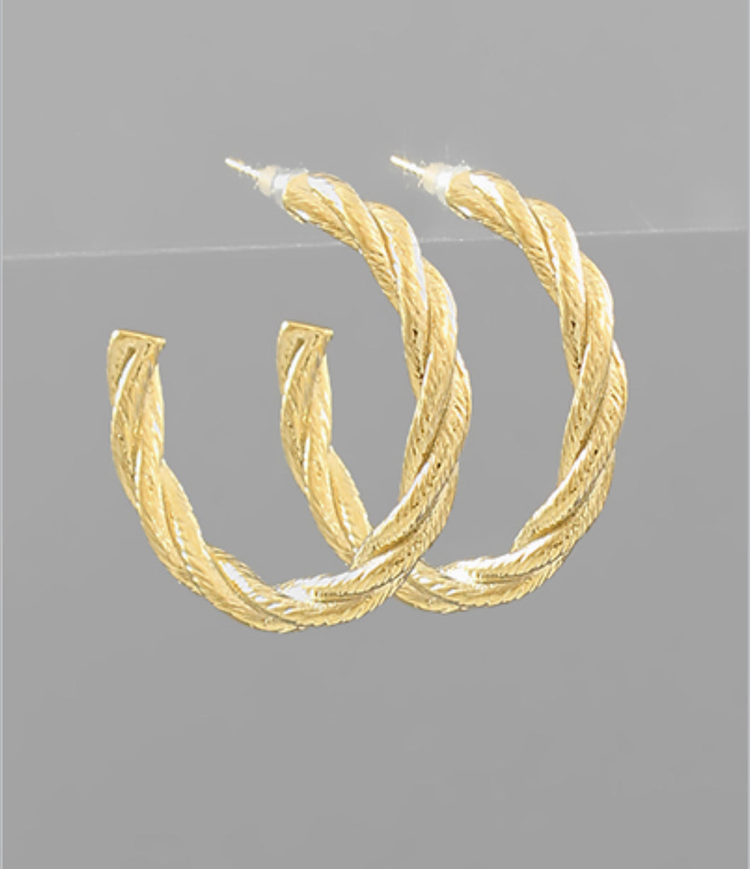 Brass Textured Twisted Hoops