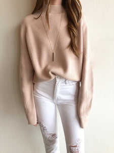 Blush Mock Neck Sweater