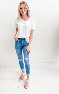 High Rise Distressed Skinny