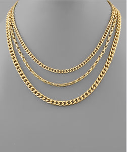 3 Row Layered Chain Necklace