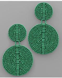Green Beaded Disc Earrings