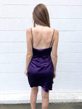Purple Satin Ruffle Dress