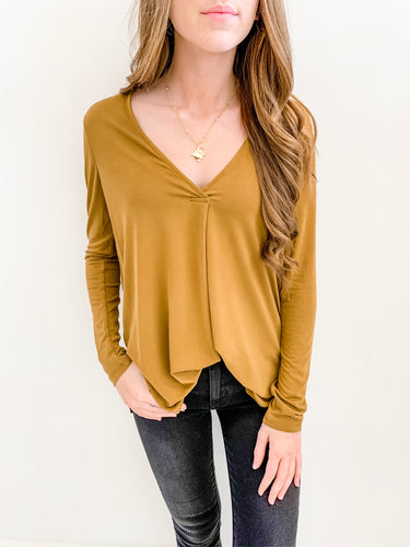 Camel Basic Long Sleeve Vneck