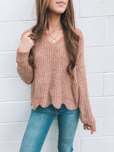 Sand Chenille Scallop Sweater