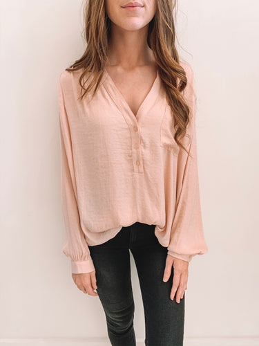 Blush Patterned Satin Blouse