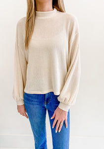 Cream Mock Neck Sweater