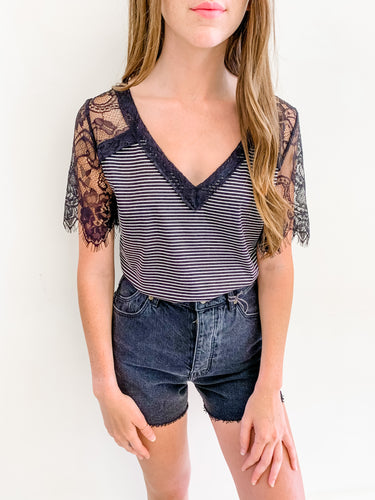 Striped Lace Sleeve Top