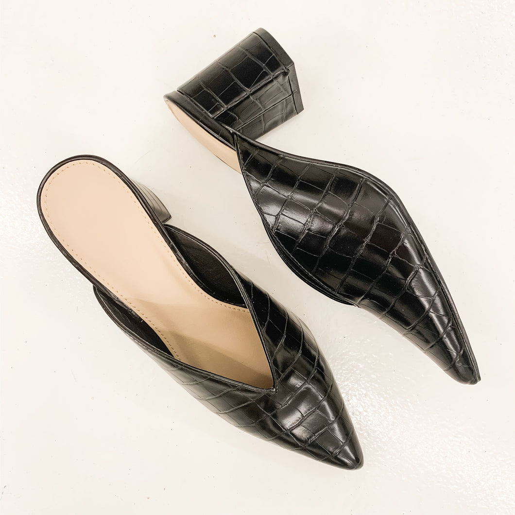 Ophelia Black Croc Pointy Toe Mule