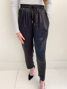Black Satin Drawstring Pant
