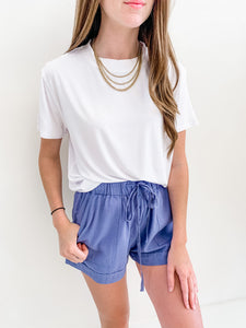 Blue Drawstring Shorts