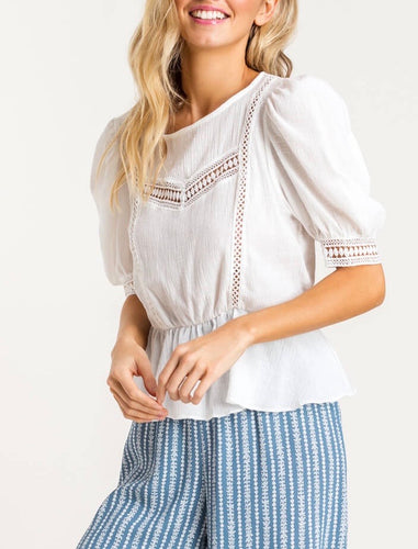 White Lace Puff Sleeve Blouse
