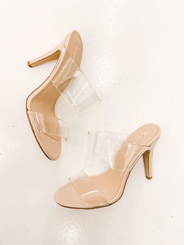 Clear Double Strap Heels