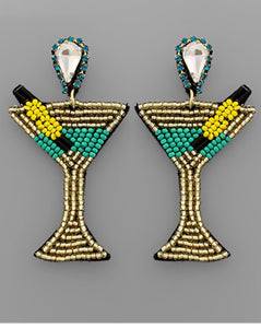 Beaded Martini Earrings Green