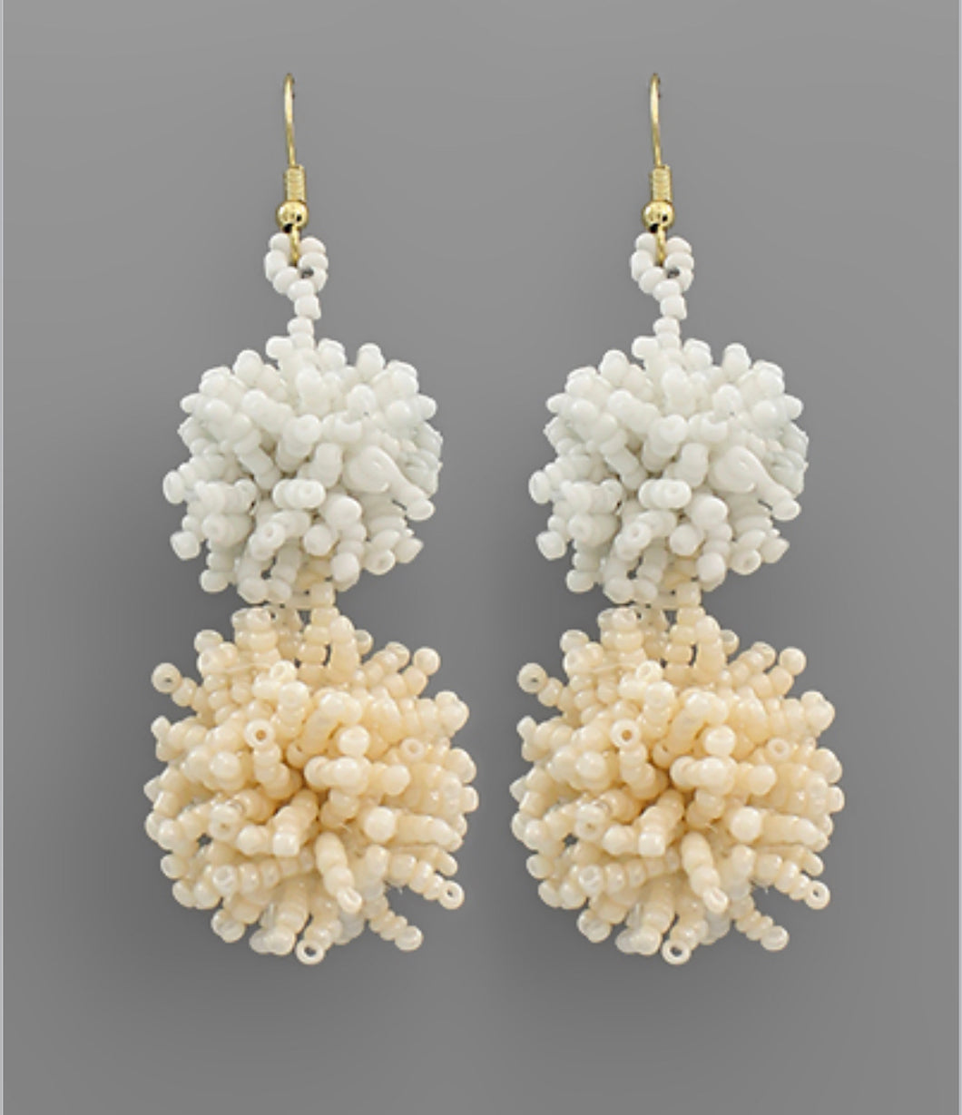 Twotone Bead Pompom Earrings
