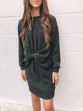 Charcoal Twist Front Sweater Dress