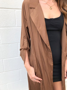 Brown Satin Duster Jacket