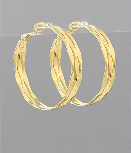 Brass 3 Marquise Row Hoops
