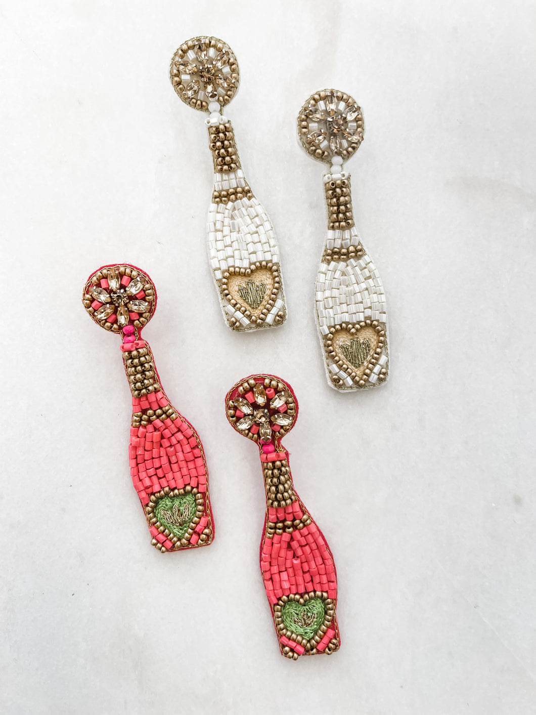 Champagne & Love Beaded Earrings