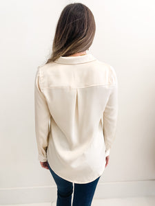 Aria Satin Blouse Cream