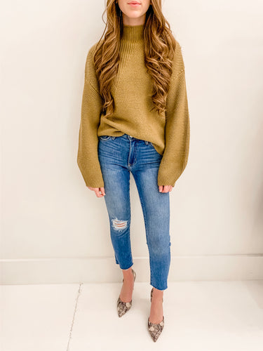 Deep Camel Mock Neck Sweater
