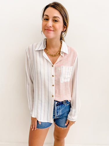 Barbara Stripe Button Up
