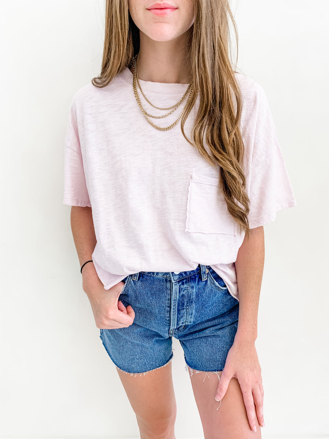 Pink Vintage Oversized Cropped Tee