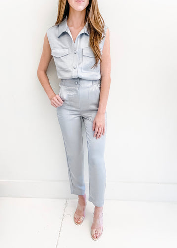 Light Sage Button Up Jumpsuit