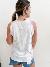 Blush Tie Dye Fray Sleeve Tank