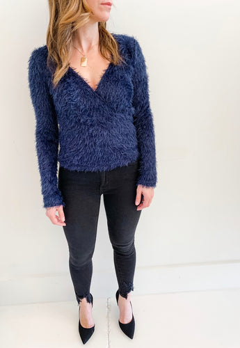 Navy Fuzzy Wrap Sweater