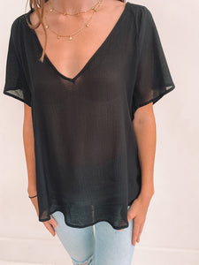 Black Vneck Blouse