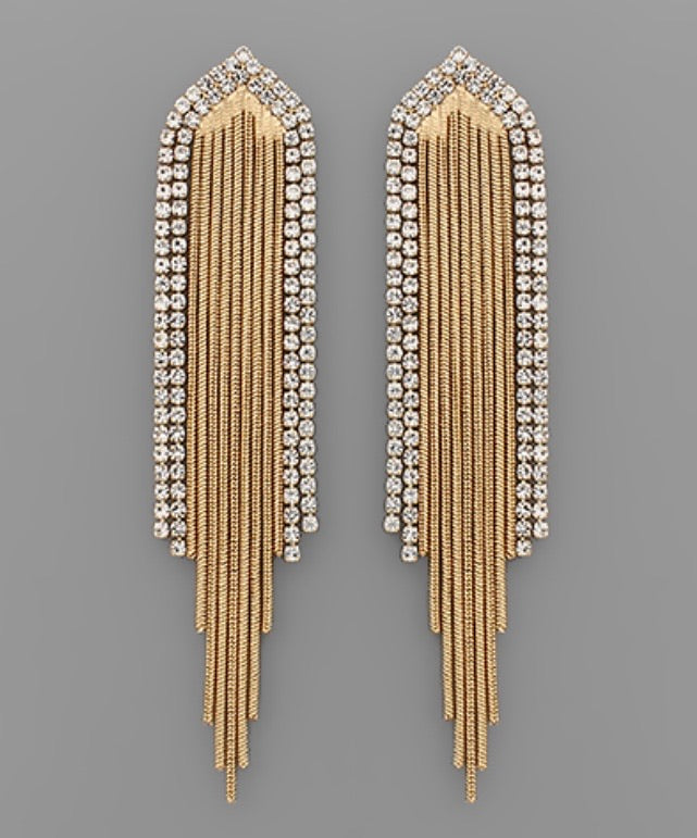 Rhinestone & Chain Tassel Earrings