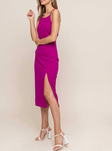 Deep Magenta Slit Dress