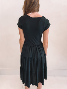 Black Scoop Neck Tiered Dress