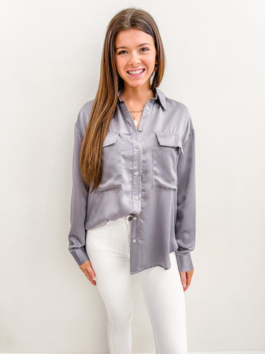 Whitney Satin Button Up