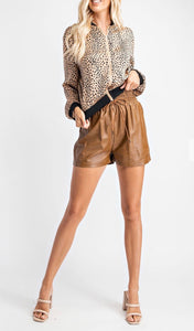 The Aly Leather Shorts Camel