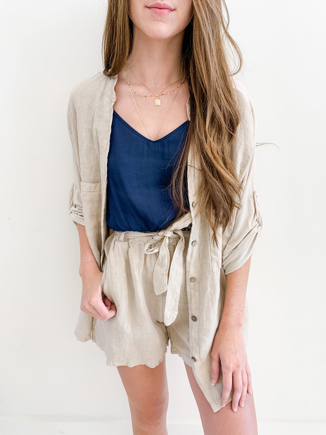Taupe Linen Button Down
