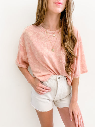 Rose Acid Wash Crop Tee