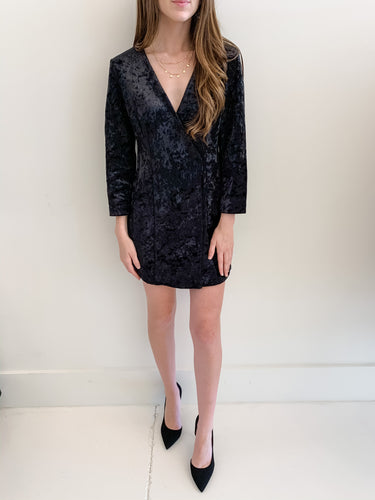 Black Velvet Blazer Dress