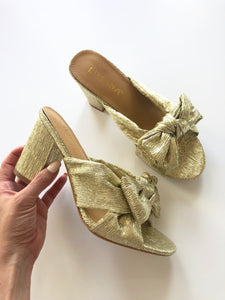 Gold Metallic Bow Heels