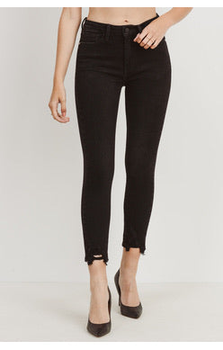 High Rise Skinny Destroyed Hem