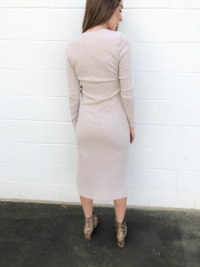 Natural Vneck Midi Dress