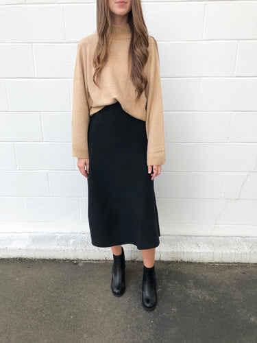 Black Sweater Midi Skirt