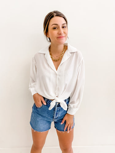 Bella White Tie Front Blouse